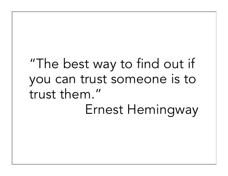 How do you know to trust someone