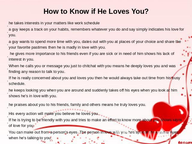How do you know a guy loves you