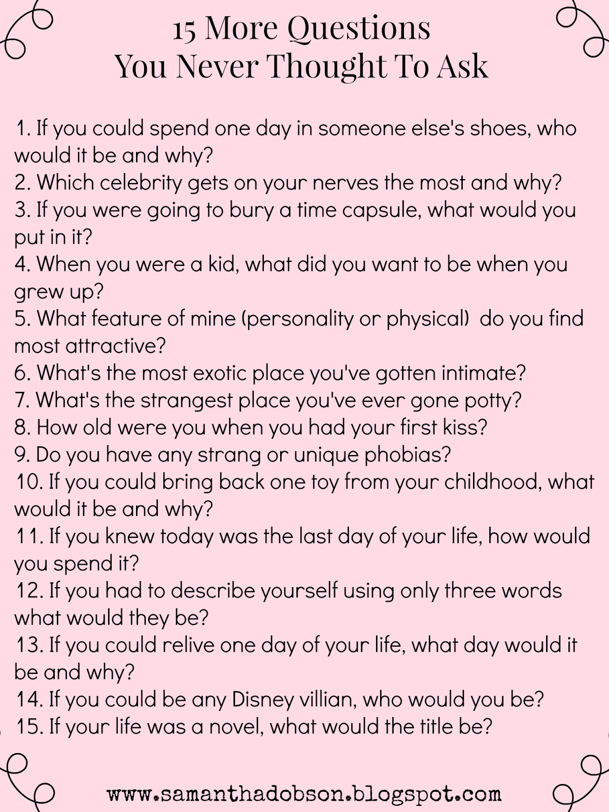 Personality questions to ask someone