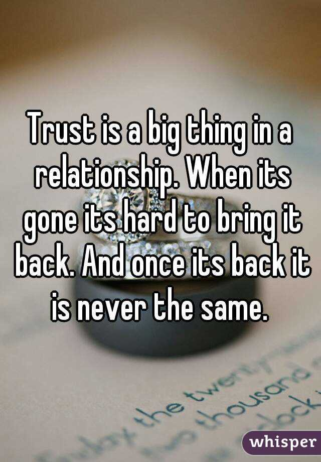 When trust is gone in a relationship