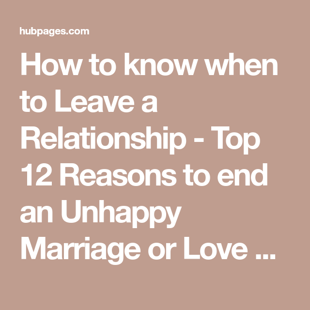 How to know when to end a marriage