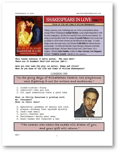 Shakespeare in love lesson plan