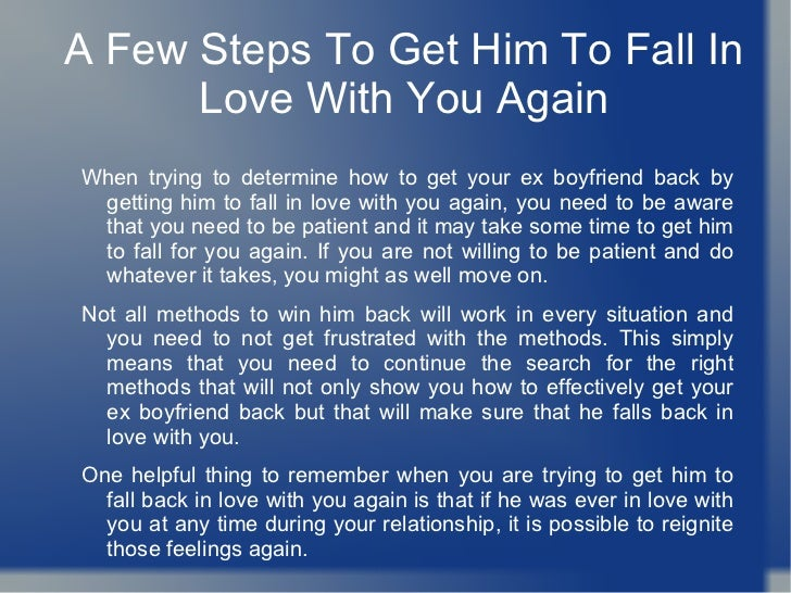 How to make someone fall in love with you again
