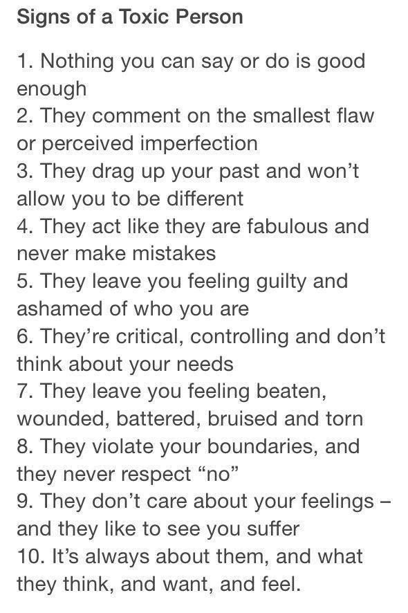 Signs of toxic people