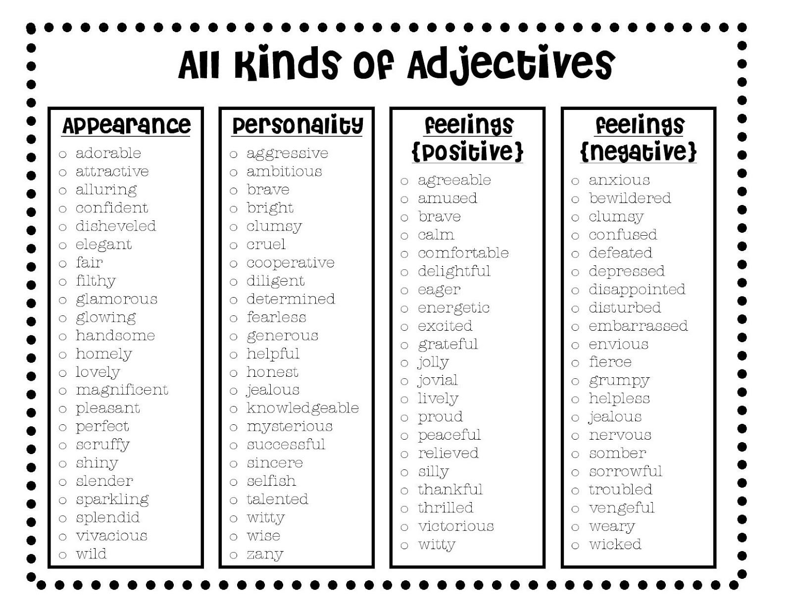 List of adjectives to describe yourself