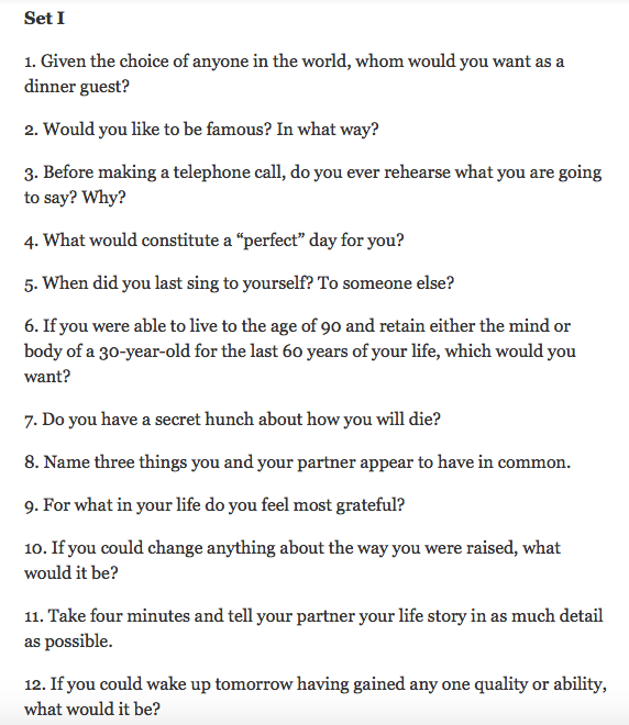 Fall in love questions