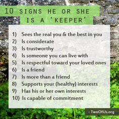 Signs he is a keeper