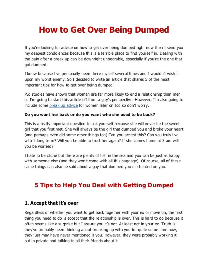 How to get over a girl who dumped you