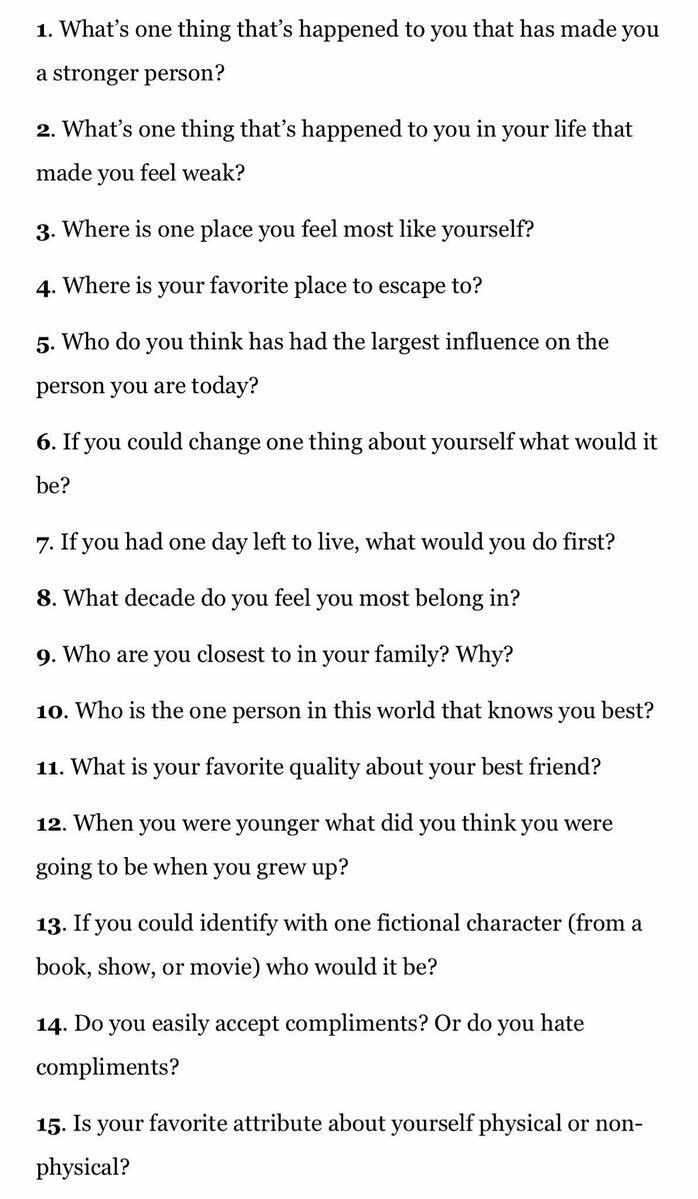 Questions to ask when trying to get to know someone