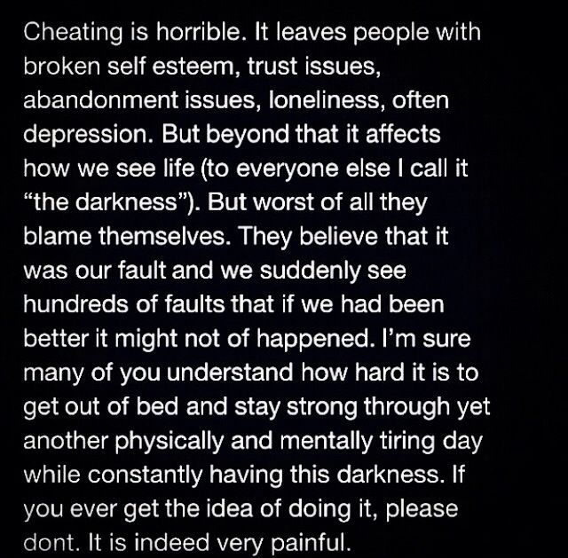 What does cheating do to a person