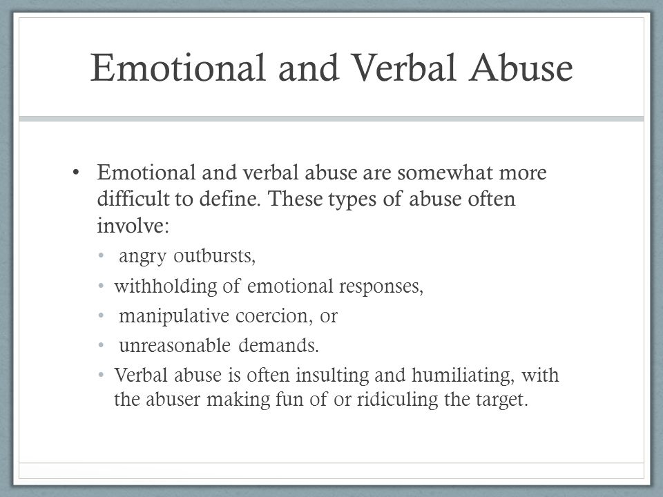 Verbal abuse in a relationship
