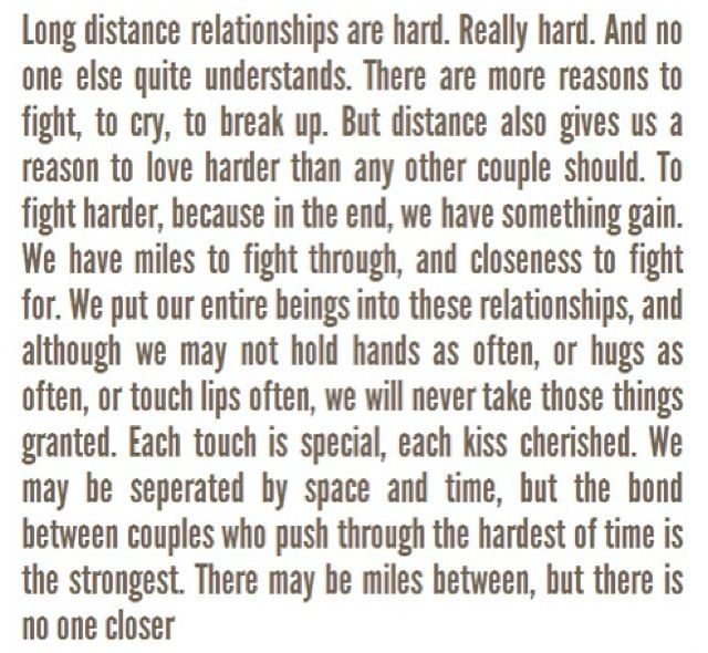 Getting through long distance relationships