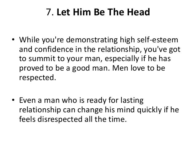 How to be the man in a relationship