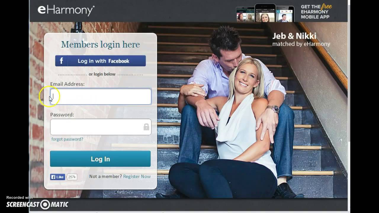 Eharmony login not working