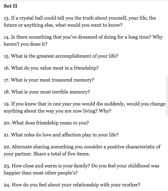 36 questions in love
