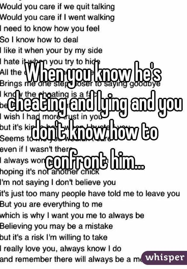 How do you know if he is cheating