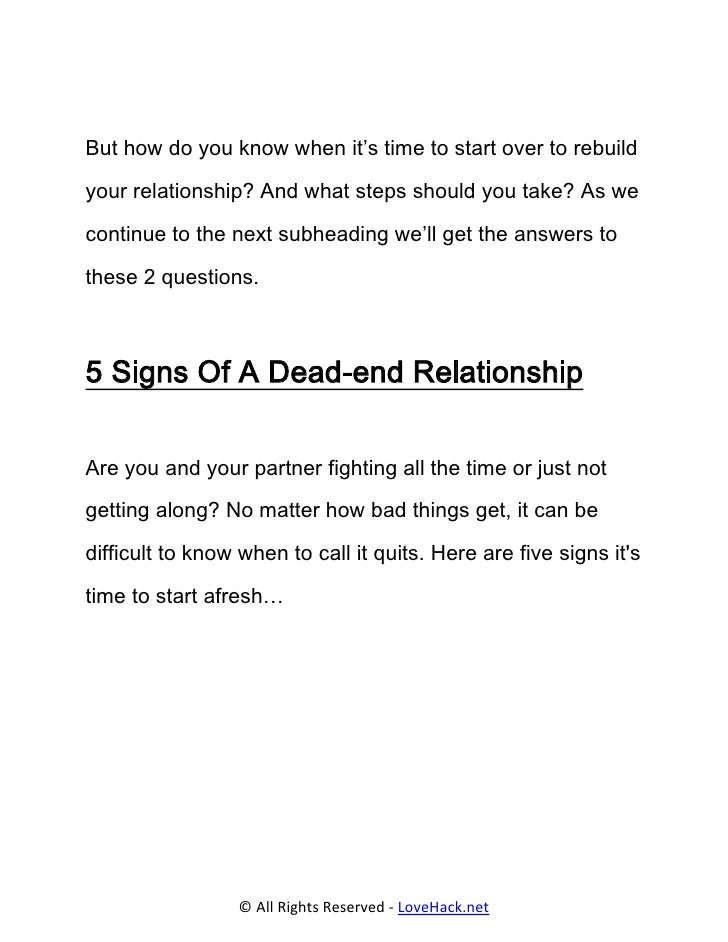 When do you know a relationship is over