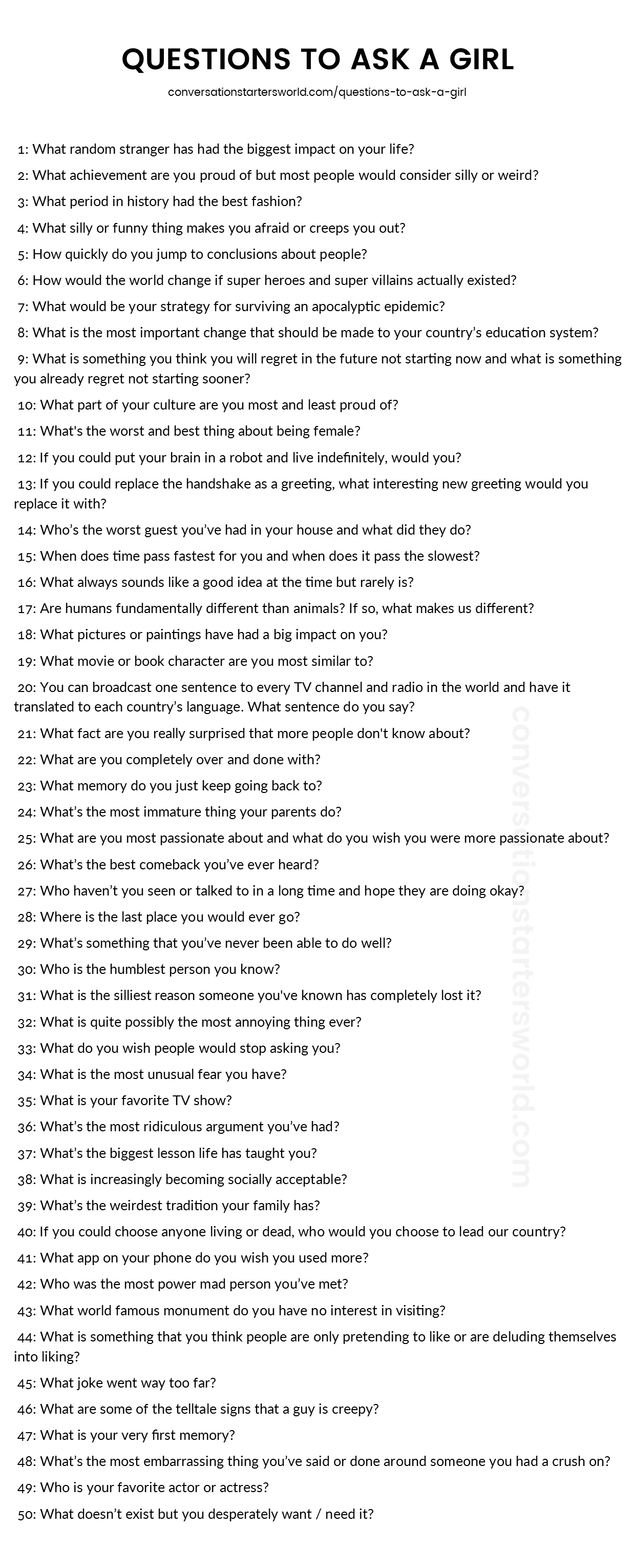 Personal questions to ask a girl