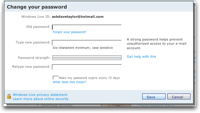 Hotmail password forgot help