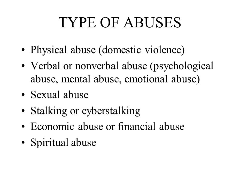 Mental and emotional abuse