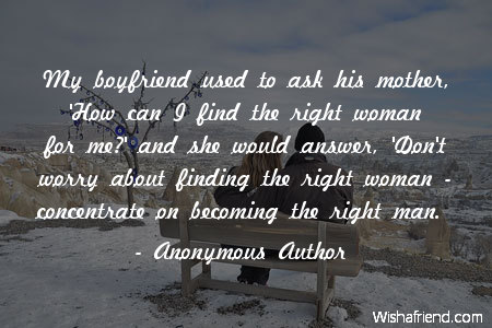 Finding the right woman