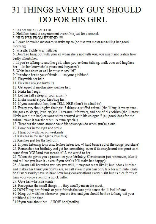 Things a girl should do for her boyfriend