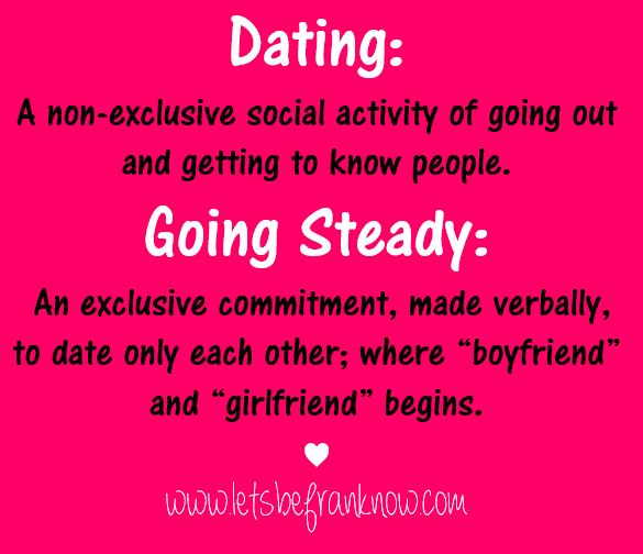 What does going steady mean