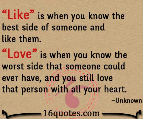 Difference of like and love