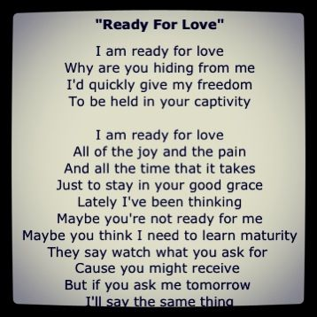I am ready for love i am ready for you