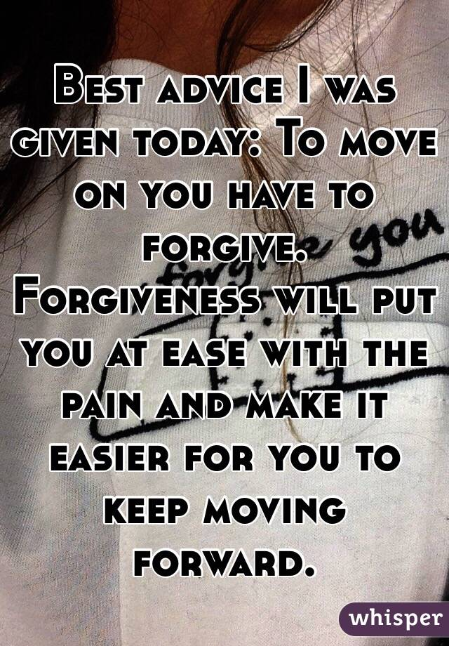 Advice about moving on