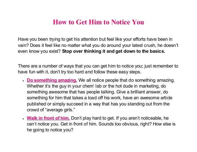 How to get him to like you