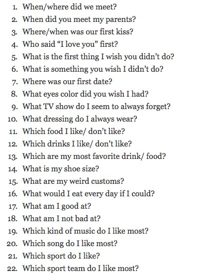 Things to ask your significant other