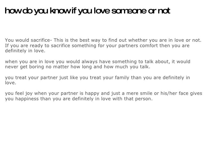 How to know if u love someone