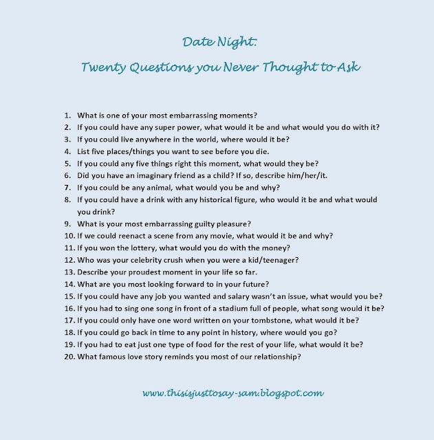 Good 20 questions to ask a guy
