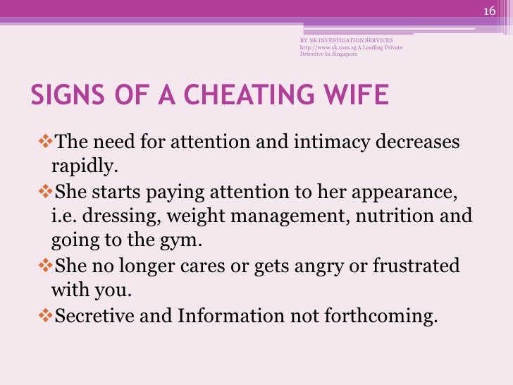 Signs of her cheating