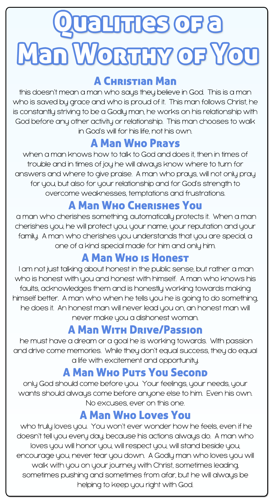 Qualities of a good husband list