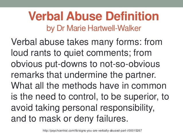 What is verbal abuse from a spouse