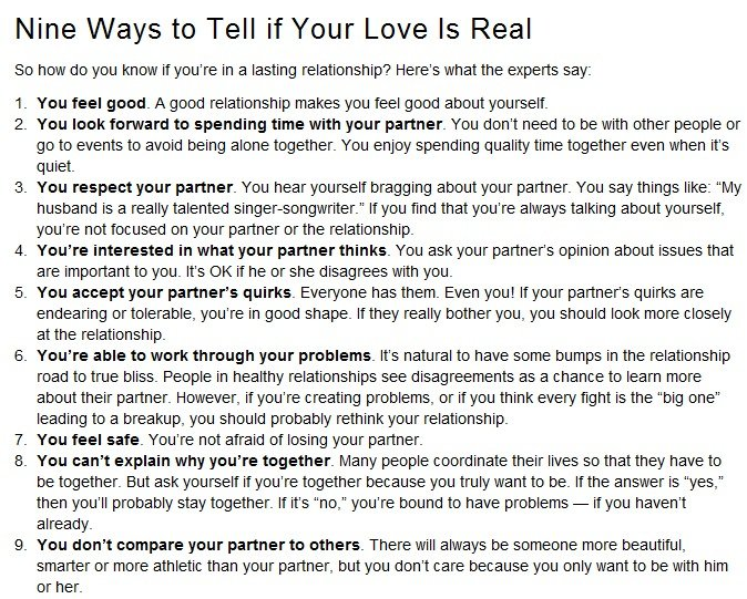 How to know if the love is real