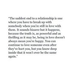 Breaking up with someone you still love