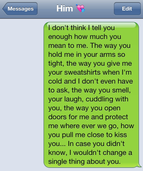 Sweet texts to send him