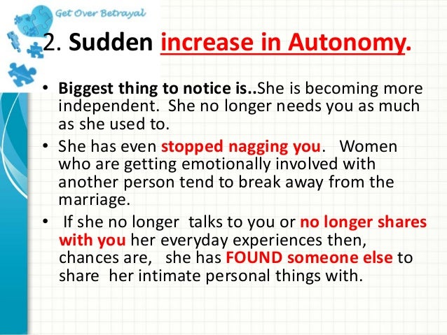 Cheating signs of a woman