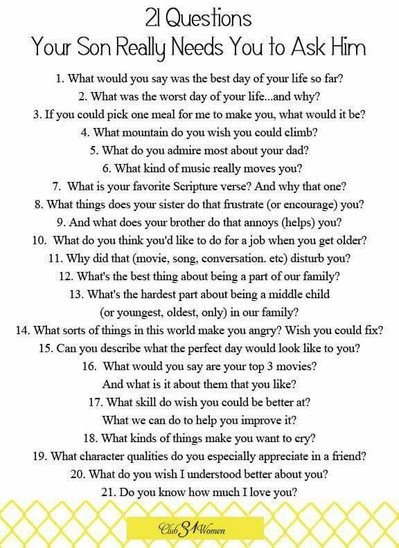 Good 21 questions to ask a guy