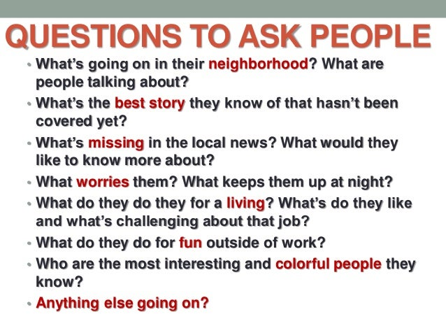 Great questions to ask people