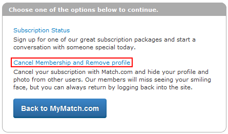 How do you delete your profile on match