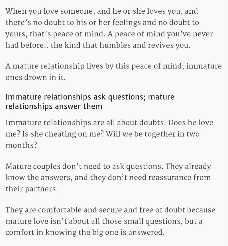 How to be in a mature relationship