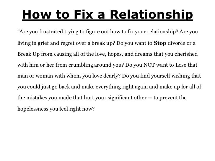 How to get a relationship back together