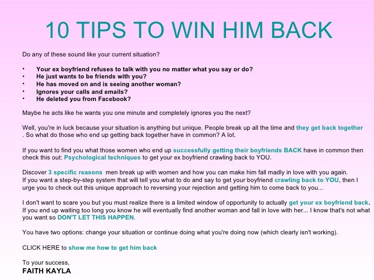 How to get him back fast