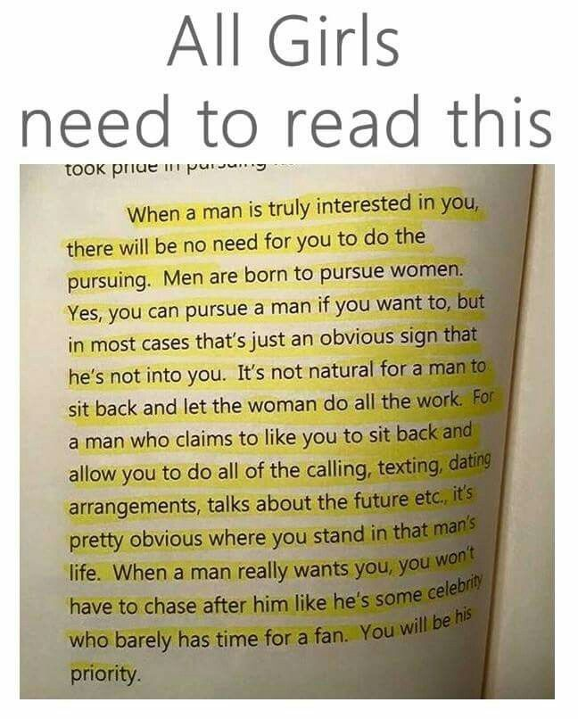 How to pursue a man