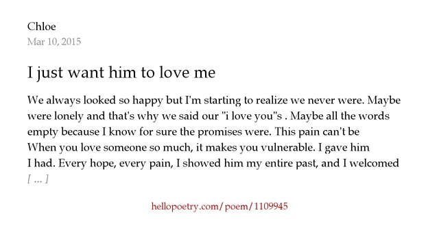 i just want you to love me