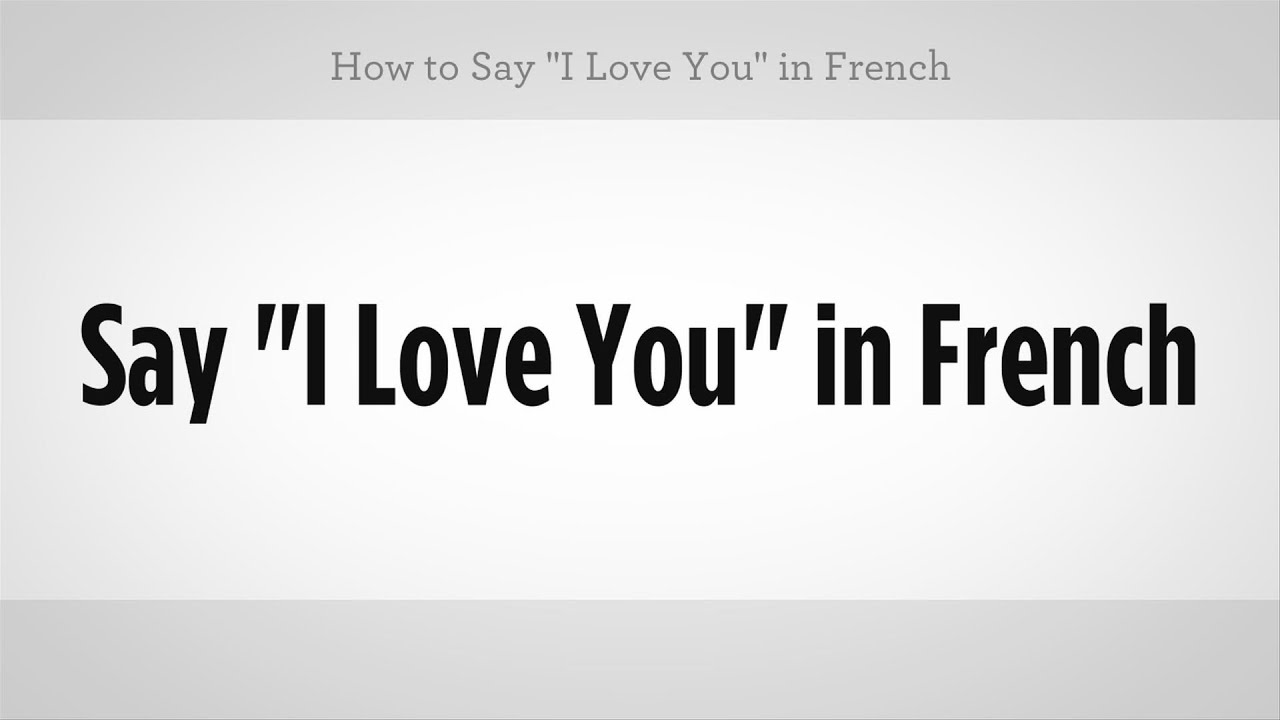 In love with you in french